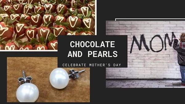 Chocolate Strawberries & Pearl Earrings
