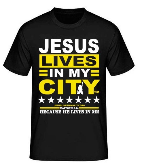 """Jesus Lives In My City """"HE Lives In Me"""" Short Sleeve Shirt JLIMC - YELLOW"""