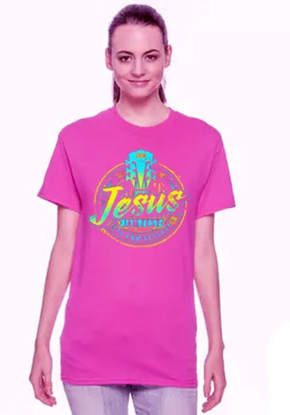 JESUS JAM FEST SHORT SLEEVE T SHIRT COLOR: HELICONIA W NEON BLUE/YELLOW
