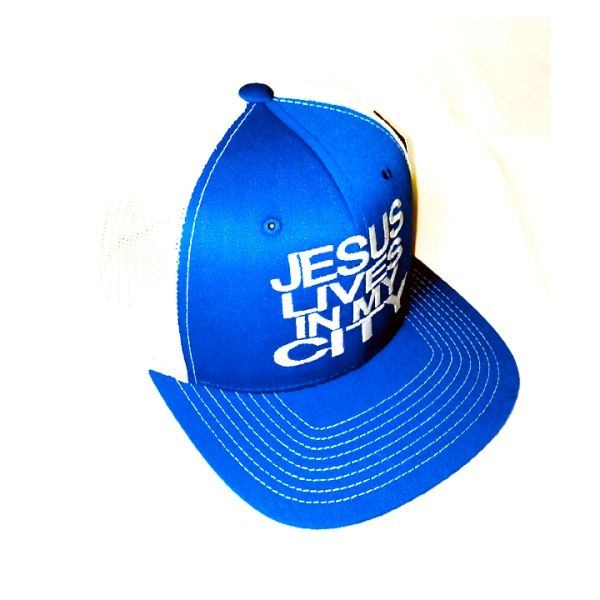 JESUS LIVES IN MY CITY BLUE WITH WHITE MESH EMBROIDERY SNAPBACK HAT CAP