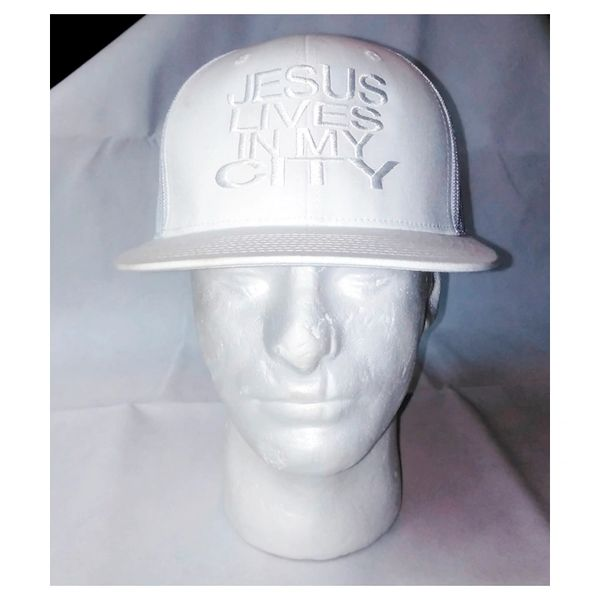 JESUS LIVES IN MY CITY WHITE ON WHITE MESH EMBROIDERY SNAPBACK HAT CAP
