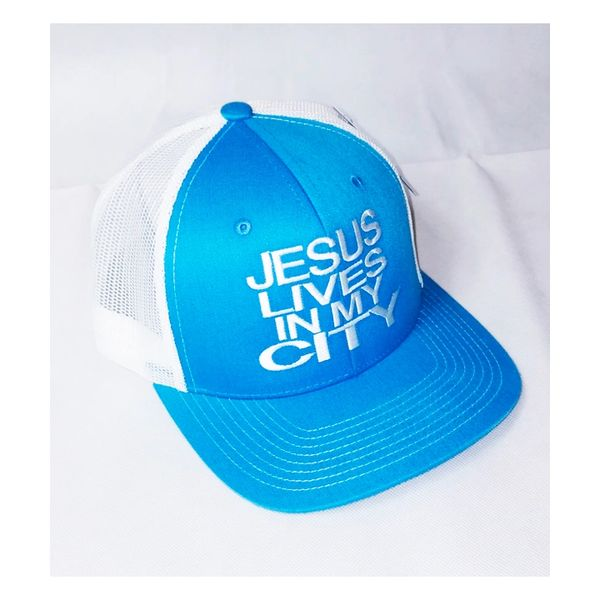 JESUS LIVES IN MY CITY TURQUOISE W WHITE MESH EMBROIDERY SNAPBACK HAT CAP