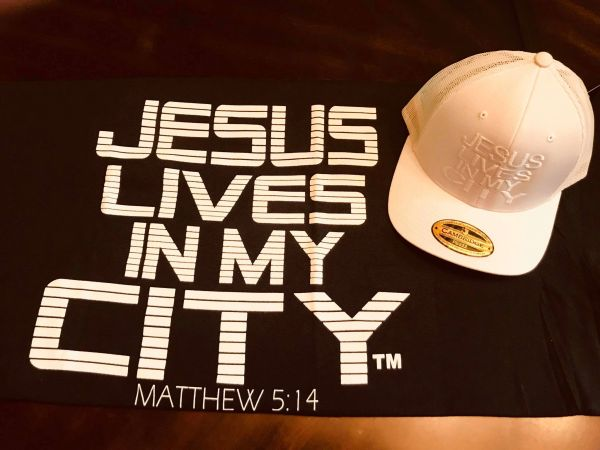 JLIMC- JESUS LIVES IN MY CITY SHORT SLEEVE TEE -STRIPE EDITION-BLACK W WHITE PRINT