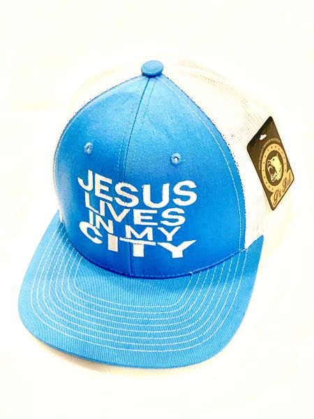 JESUS LIVES IN MY CITY BABY BLUE W WHITE MESH EMBROIDERY SNAPBACK HAT CAP