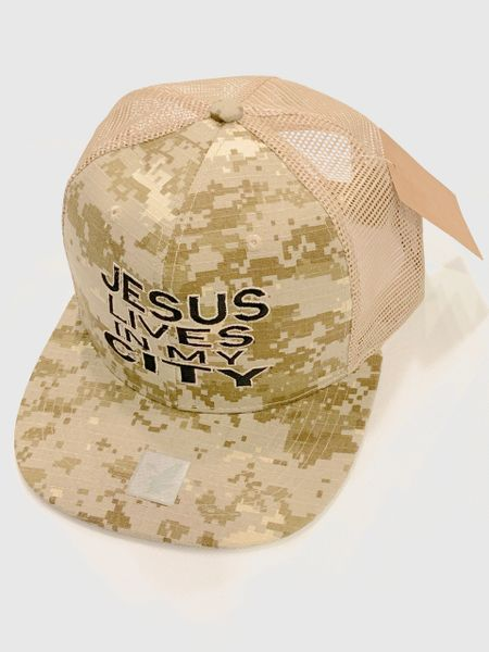 JESUS LIVES IN MY CITY MESH DIGITAL CAMOUFLAGE W BLACK EMBROIDERY SNAPBACK