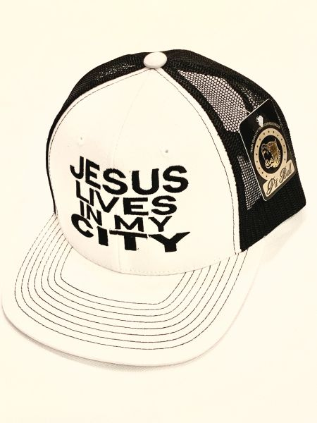 JESUS LIVES IN MY CITY WHITE/ BLACK MESH W BLACK EMBROIDERY SNAP BACK HAT CAP