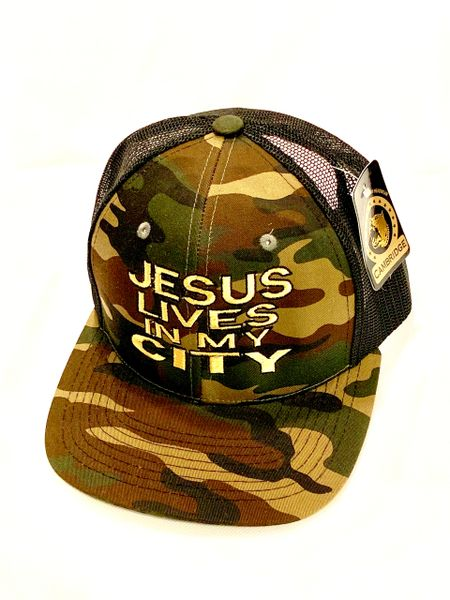 JESUS LIVES IN MY CITY CAMOUFLAGE/BLACK MESH GOLD EMBROIDERED SNAP BACK CAP