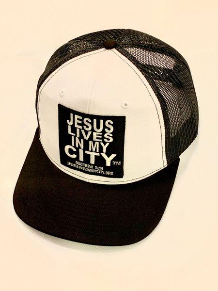 JESUS LIVES IN MY CITY BLACK MESH/WHITE BLOCK LOGO SNAPBACK HAT CAP