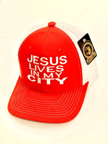 JESUS LIVES IN MY CITY RED MESH/ WHITE W RED EMBROIDERED LETTERING SNAPBACK CAP