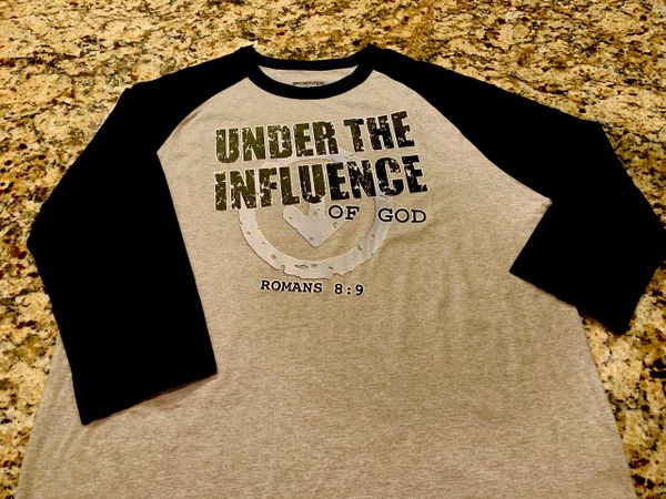 777- UNDER THE INFLUENCE OF GOD BASEBALL TEE BLACK/GRAY
