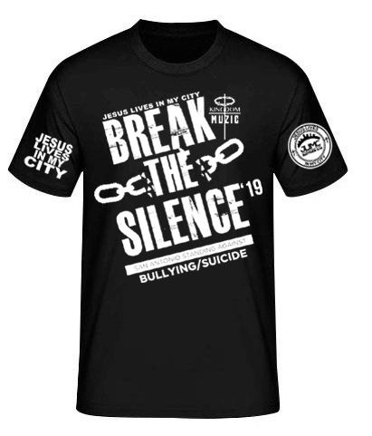 JLIMC- JESUS LIVES IN MY CITY SHORT SLEEVE TEE -BREAK THE SILENCE EDITION-BLACK W WHITE PRINT