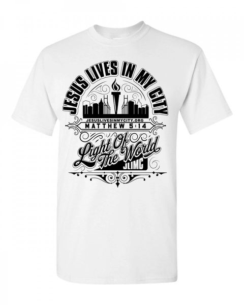 JLIMC- JESUS LIVES IN MY CITY SHORT SLEEVE TEE -CITY EDITION-WHITE W BLACK PRINT