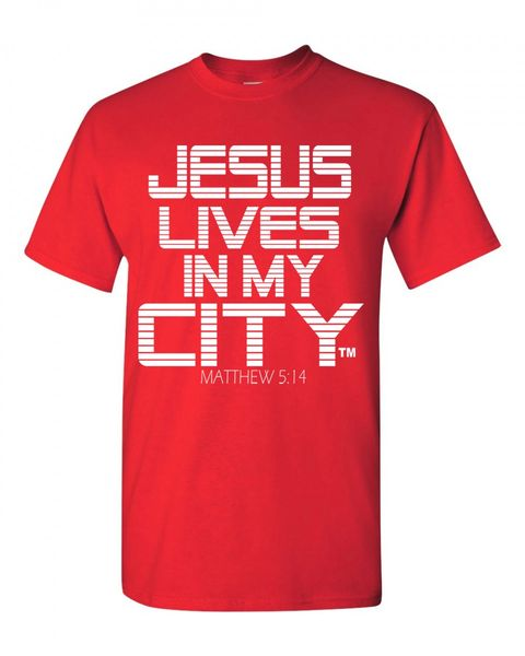 JLIMC- JESUS LIVES IN MY CITY SHORT SLEEVE TEE -STRIPE EDITION-RED W WHITE PRINT