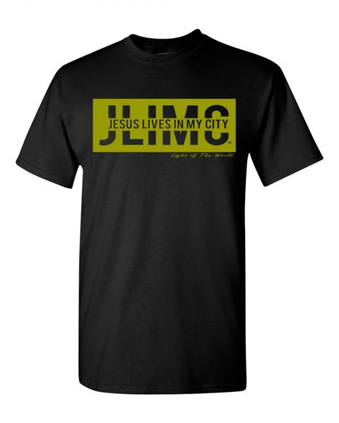 JLIMC- JESUS LIVES IN MY CITY SHORT SLEEVE TEE -BLOCK EDITION-GOLD PRINT