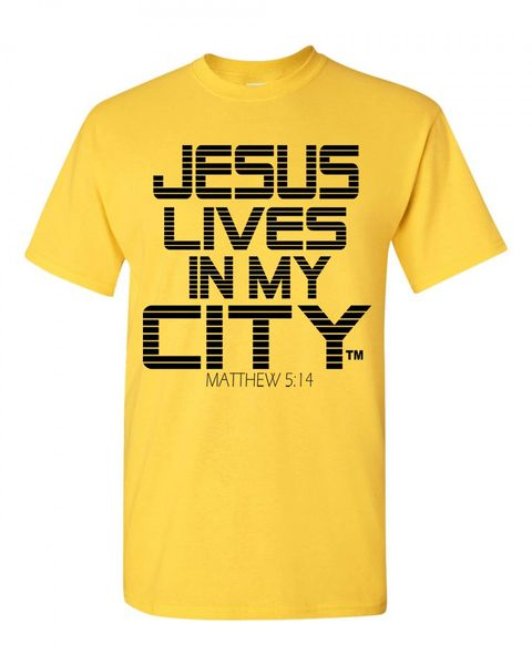JLIMC- JESUS LIVES IN MY CITY SHORT SLEEVE TEE -STRIPE EDITION-YELLOW W BLACK PRINT