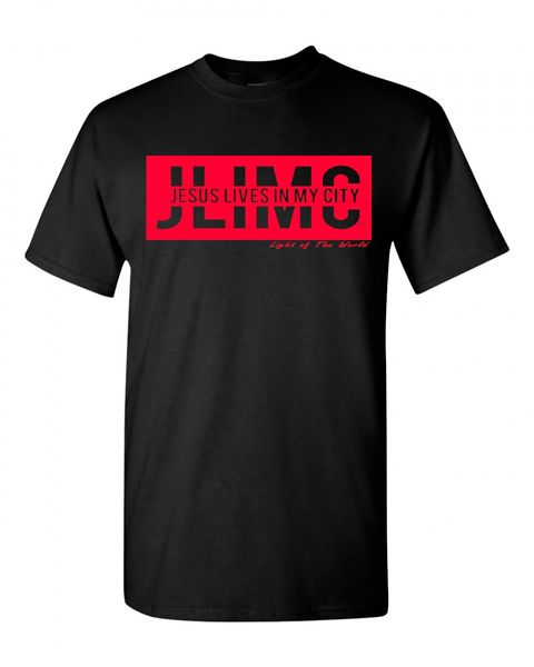 JLIMC- JESUS LIVES IN MY CITY SHORT SLEEVE TEE -BLOCK EDITION-RED PRINT