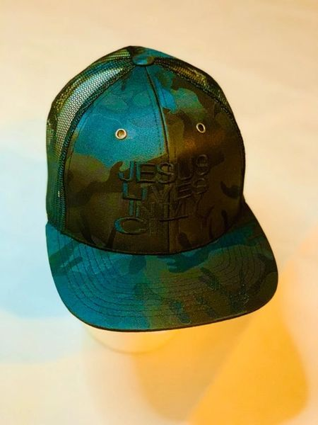 JLIMC - Jesus Lives In My City Camo Black w Black Embroidery Snap Back Mesh Cap Hat