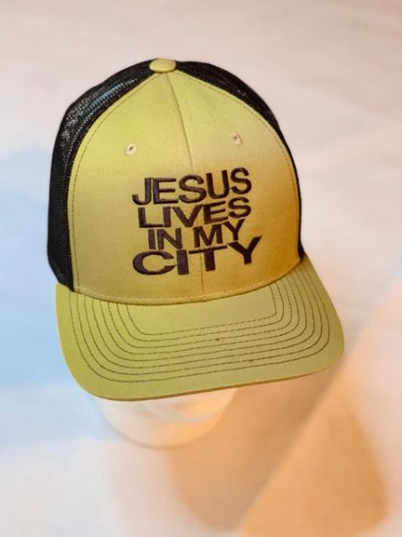 JLIMC - Jesus Lives In My City Chocolate w Brown Embroidery Snap Back Mesh Cap Hat