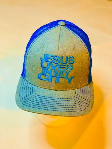 JLIMC - Jesus Lives In My City Denim Gray w Blue Embroidery Mesh Cap Hat