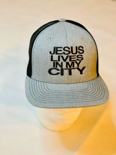 JLIMC - Jesus Lives In My City Denim Gray w Black Embroidery Snap Back Mesh Cap Hat