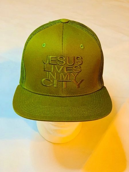 JLIMC - Jesus Lives In My City Military Green w Green Embroidery Snap Back Mesh Cap Hat