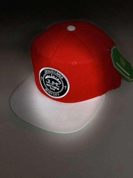 JLIMC - Jesus Lives In My City Red w White Snap back Round Logo Cap Hat