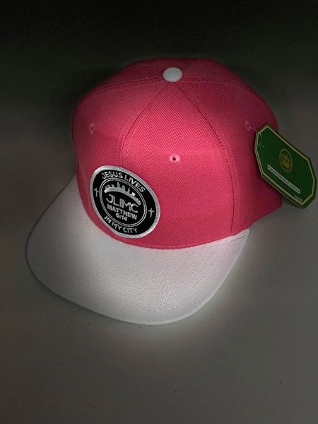 JLIMC - Jesus Lives In My City Pink w White Snap Back Round Cap Hat