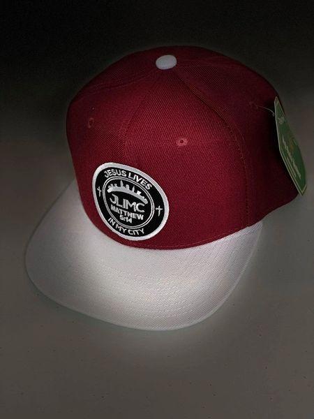 JLIMC - Maroon w White Snap Back Round Cap Hat