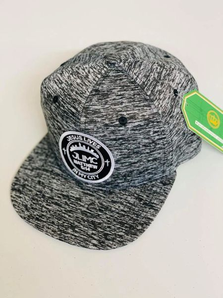 JLIMC - Jesus Lives In My City Gray Stripes Snap Back Round Cap Hat