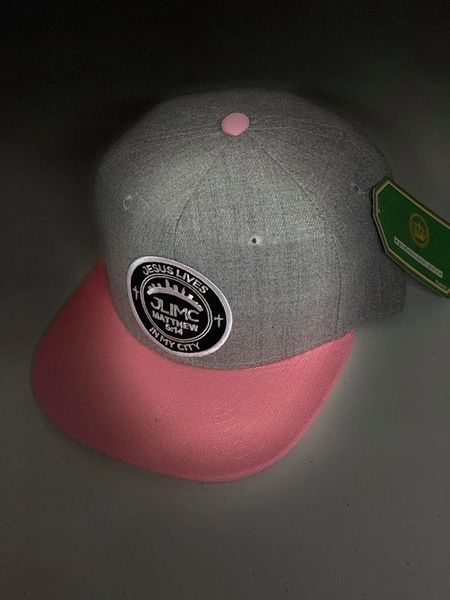 JLIMC - Jesus Lives In My City Gray Denim w Pink Snap Back Round Cap Hat
