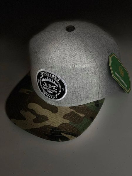 JLIMC - Jesus Lives In My City Gray Denim w Camo Snap Back Round Cap Hat