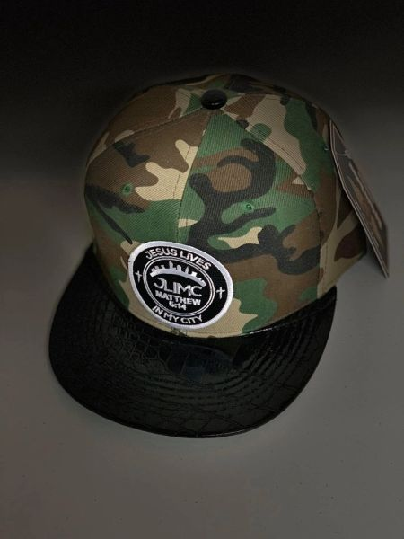 JLIMC - Jesus Lives In My City Camo w Black Leather Snap Back Round Cap Hat
