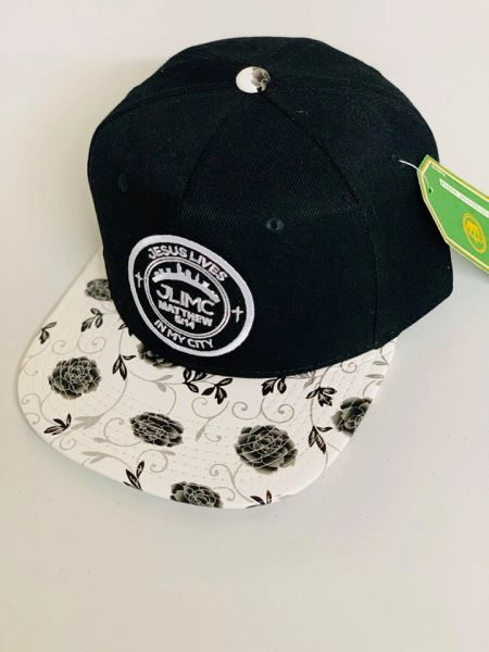 JLIMC - Jesus Lives In My City Black w White Rose Snap Back Round Cap Hat
