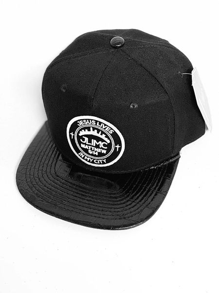 JLIMC - Jesus Lives In My City Black w Black Leather Snap Back Round Cap Hat