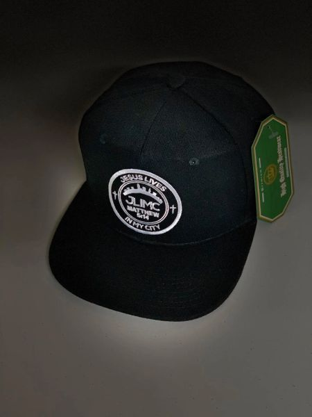 JLIMC - Jesus Lives In My City All Black Snap Back Round Cap Hat