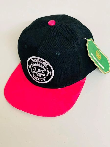 JLIMC - Jesus Lives In My City Black w hot pink Snap Back Round Cap Hat