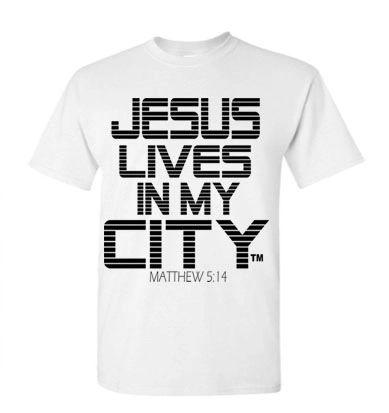 JLIMC- JESUS LIVES IN MY CITY SHORT SLEEVE TEE -STRIPE EDITION-WHITE W BLACK PRINT