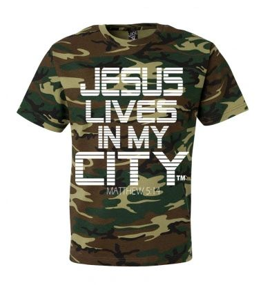 JLIMC- JESUS LIVES IN MY CITY SHORT SLEEVE TEE -STRIPE EDITION-CAMO W WHITE PRINT
