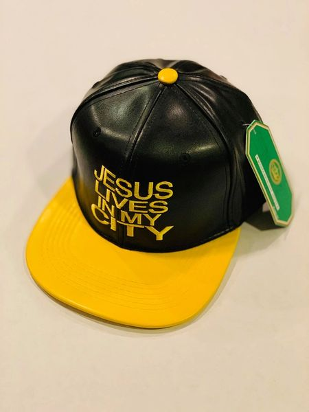 JLIMC JESUS LIVES IN MY CITY BLACK LEATHER WITH YELLOW BILL AND EMBROIDERY SNAP BACK HAT