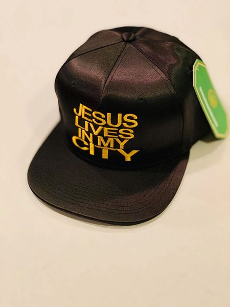 JLIMC JESUS LIVES IN MY CITY BLACK SILK WITH GOLD EMBROIDERY SNAP BACK HAT