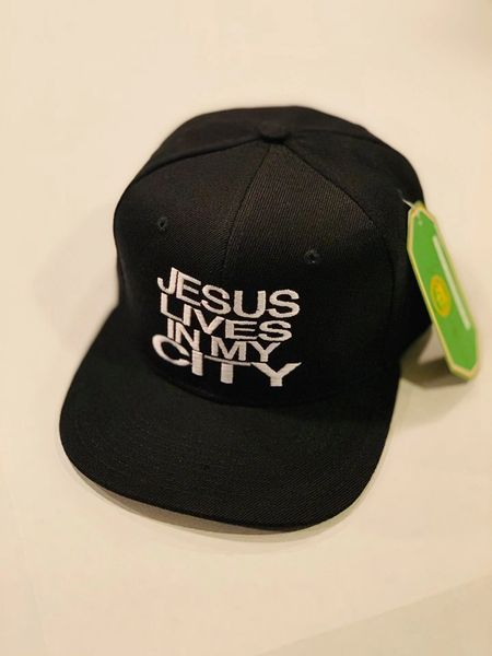 JLIMC JESUS LIVES IN MY CITY BLACK WITH WHITE EMBROIDERY SNAP BACK HAT