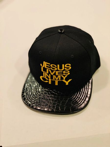 JLIMC JESUS LIVES IN MY CITY BLACK WITH BLACK LEATHER BILL GOLD EMBROIDERY SNAP BACK