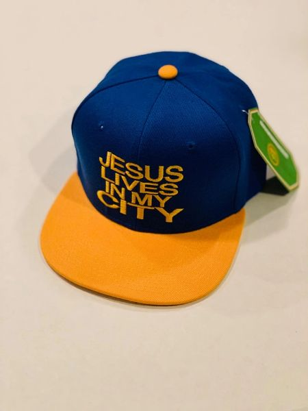 JLIMC JESUS LIVES IN MY CITY BLUE WITH GOLD BILL AND GOLD EMBROIDERY SNAP BACK