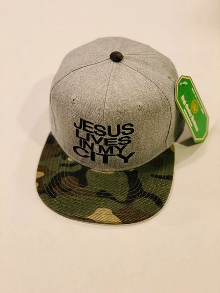 Jlimc - Jesus Lives In My City Gray with Camo Bill Snap Back hat cap