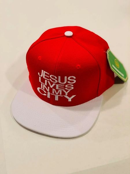 Jlimc - Jesus Lives In My City Red white Snap Back Hat Cap Embroidered