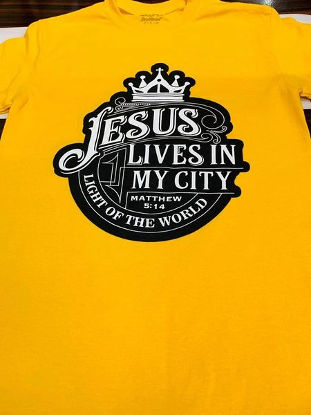 JLIMC - JESUS LIVES IN MY CITY CROWN CHRISTIAN T SHIRT YELLOW