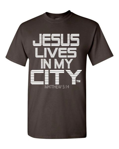 JLIMC - JESUS LIVES IN MY CITY BROWN W WHITE PRINT SHORT SLEEVE T SHIRT STRIPE EDITION