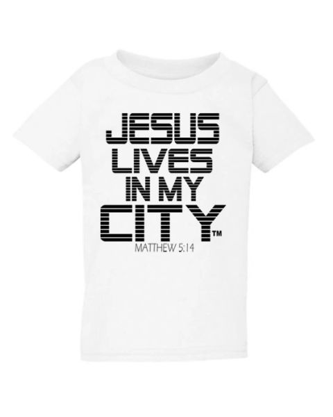 JESUS LIVES IN MY CITY KIDS SHORT SLEEVE T SHIRT STRIPE EDITION