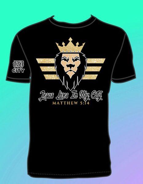 JLIMC - LION CROWN BLACK T SHIRT GOLD