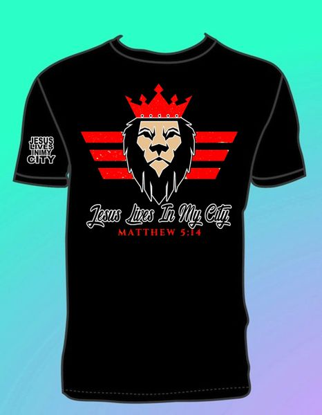 JESUS LIVES IN MY CITY LION CROWN T SHIRT RED